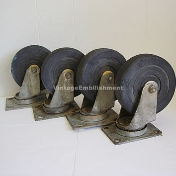 4 Vintage Industrial Casters Large Furniture Industrial Cart Swivel Casters