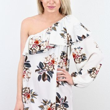 One Shoulder Ruffle Floral Blouse {Off White}