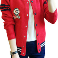 Colorblocked Number Patched Knit Cardigan