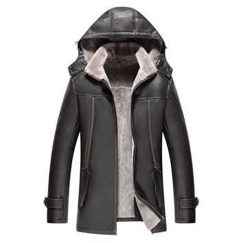 Mens Fur Coat Mens Leather Jacket Shearling Hooded Coat Genuine Leather Mens Jacket Fur Coat Long Outerwear TJ54