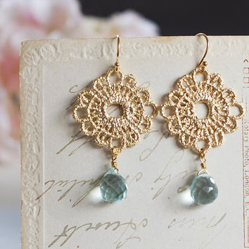 Gold Metal Lace Earrings. Aquamarine Quartz Briolette 16K Matte Gold Plated Lace Earrings. Light Blue Quartz Faceted Briolette Earrings