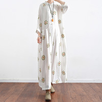 New Japanese Mori Girl Floral Embroidery Long Sleeves Dress Kawaii Lolita Sweet White High Waist A Line Maxi Robe 2017 Spring
