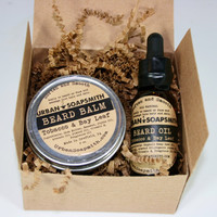 Beard Gift Set - Beard Balm and Beard Oil in Gift Box - Beard Conditioner - Beard Care