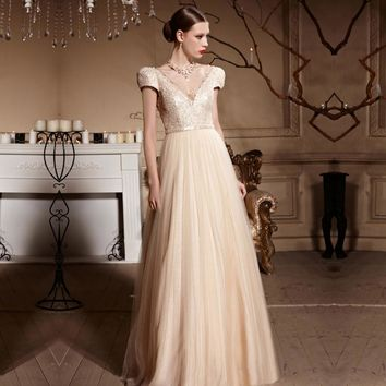 Coniefox 30611 Elegant Ivory Short Sleeves Long Princess Prom Dresses