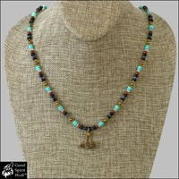 Gotland Bronze Mjolnir Thor's Hammer on Authentic Viking Design Stone and Glass Bead Necklace