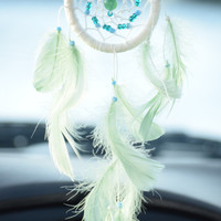 Car Dream catcher, Mini dream catcher, Car Accessory, Car Charm, AVENTURINE stone, Gift for him, Car Decor.