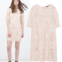 Women's Fashion Stylish Hollow Out Lace Short Sleeve Bottom & Top One Piece Dress [5013107268]