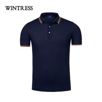 WINRESS New Design Men Polo Shirt Clothes Short Sleeve Contrast Color Casual Cotton Loose Plus Size Top Can Custom Print Logo