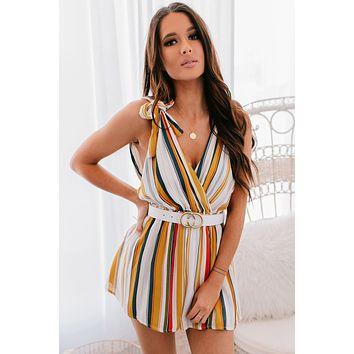 Reaching Out Striped Romper (Yellow)