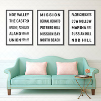 SAN FRANCISCO, CALIFORNIA Subway Sign Posters, Bus Scrolls (Collection Set of 3), Typography Prints, Wall Art, Shabby Chic, Vintage Decor