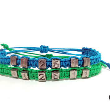 Date Couples Bracelets Green Blue Hemp Set of 2