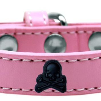 Skull Widget Dog Collar Light Pink Size 14