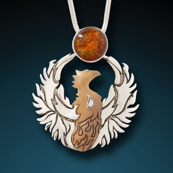 """Phoenix Rising"" Fossilized Mammoth Tusk, Amber and Sterling Silver Pendant"