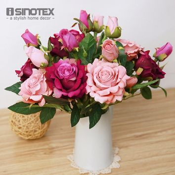 Artificial Flowers For Wedding Decoration Mariage Birthday Party Crafts Bridal Bouquet Floral Buds Decorative Flowers 1 PCS Lot