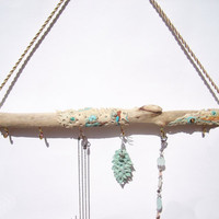 Driftwood Jewelry Display, Driftwood Beach Decor, Bohemian Jewelry Holder, Driftwood Wall Hanging, Bohemian Jewelry Boho Jewelry Holder