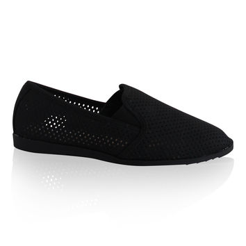 """Covina"" Perforated Flat Loafers - Black"