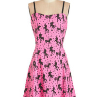 ModCloth Vintage Inspired Mid-length Spaghetti Straps A-line Carousel Couture Dress