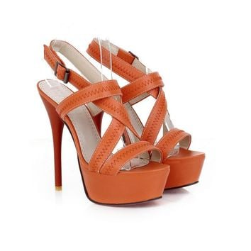 Brand New Sexy Orange Beige Apricot Women Glamour Platform Sandals Super High Heels Pu