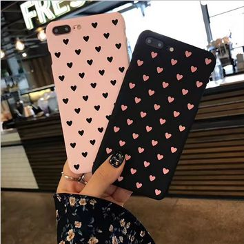 Cute Love Heart Hard Shockproof Protective Phone Case Cover For iphone 6 7 8Plus