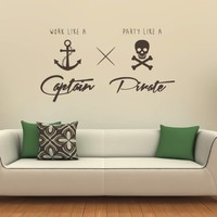 Work Like A Captain Party Like A Pirate Fun Quote Wall Art Sticker:Amazon.co.uk:Kitchen & Home