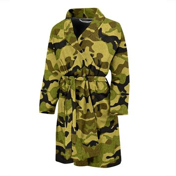 Green Camouflage Mens Bath Robe