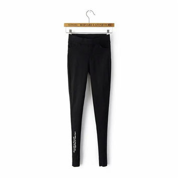 Pencil Pants Summer Women's Fashion Pants Ripped Holes Alphabet Embroidery Skinny Pants