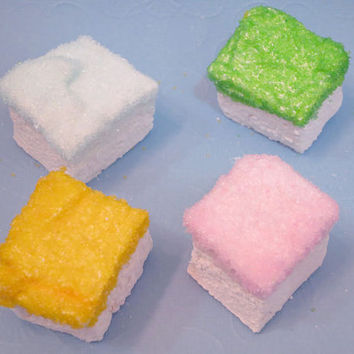 Vanilla Marshmallows with Pastel Glitter Sugar - great for Baby Shower  - 1 dozen Gourmet homemade marshmallows