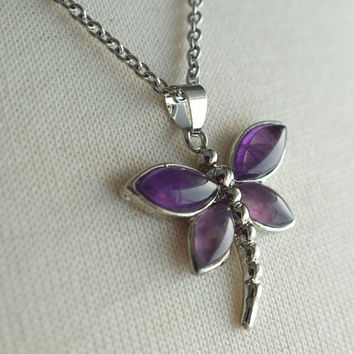 Amethyst Dragonfly Necklace, Stainless Steel Necklace, Stainless Chain, Amethyst Necklace, Gift under 30