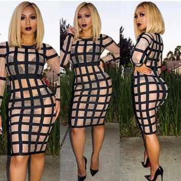Sheer Mesh Grid Knee Length Bandage Dress
