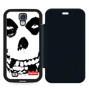 Misfits X Supreme Skull Leather Wallet Flip Case Samsung Galaxy S4