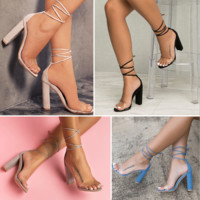 Explosive transparent strap high-heeled sandals female