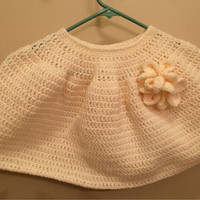 Girls poncho, beige poncho, floral poncho , crocheted poncho, poncho for girls, photo prop, autumn poncho, winter, caplet
