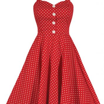 "Women's ""Retro Gal"" Halter Swing Dress by Double Trouble Apparel (Red Polka Dot)"