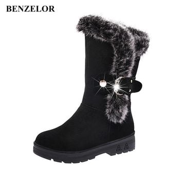 BENZELOR 2018 Autumn Winter New Platform With Faux Fur Fashion Women Shoes Woman Boots Snow Warm Femme Ladies Boot Black Red F6