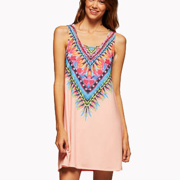 Tribal Print Sleeveless Dress Blush Pink Summer Fashion Boutique S M L  New