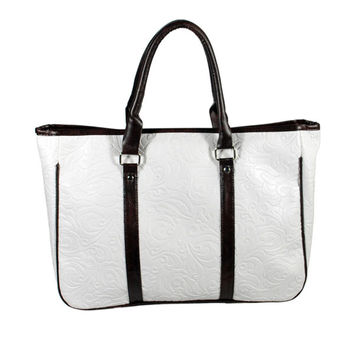 Romantic White Leatherette Handbag