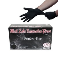 Black Latex Powder Free Disposable Tattoos Piercing Industrial Gloves - Size Medium - 100 gloves/Box