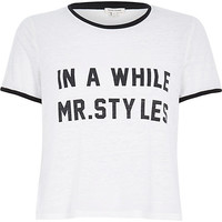 River Island Womens White Mr Styles slogan black trim t-shirt