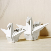 China White Paper Crane Origami Crane Figurine Ornaments Home Stylish Living Room Table Art Decoration Ceramic Crafts X'max Gift