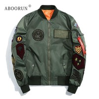 ABOORUN 2018 New Spring US MA-1 Bomber Jackets Korean Mens Slim Baseball Coat with Patches Army Windbreaker Jackets YC1022
