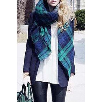 Women's Blue and Green Soft Multicolor White Plaid Raw Edge Scarf