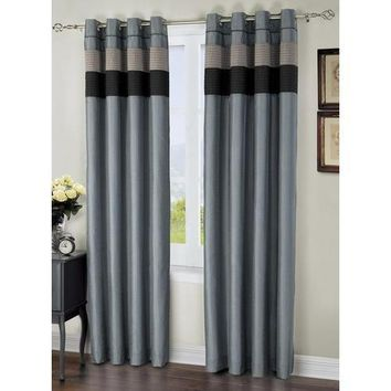 "Regal Navy/Blue Grommet Lined Window Curtain Panel 57"" x 84"""