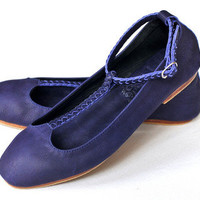 ELF - Purple T-strap ballet flats handmade in Bali from high quality leather.