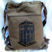 Tardis Doctor Who Inspired Canvas Drawstring Backpack