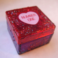 Tiny Trinket Box, Valentines Day Pill Box, Red and Purple with Glitter, Conversation Heart, Number One