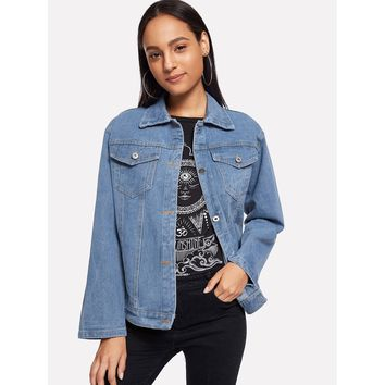 Letter Embroidered Denim Jacket