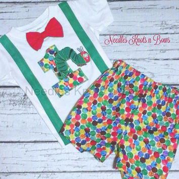 Boys Very Hungry Caterpillar Birthday Outfit, Boys First Birthday Outfit, 2nd Birthday Outfit