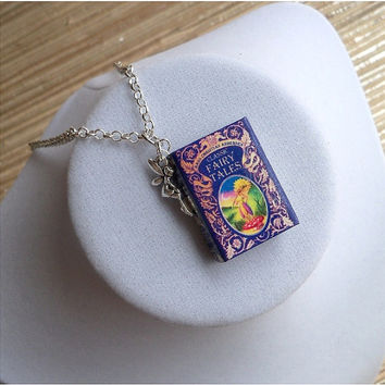 Classic Fairy Tales by Hans Christian Andersen with Tiny Fairy Charm - Miniature Book Necklace