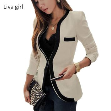 hot sell 2017 Women Fashion Blazers Plus Size S-2XL Long Sleeve V-Neck Solid Color Suit Women Slim Hidden Breasted Blazers