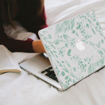 Flower Macbook Decal - Mint Green Watercolour Flower MacBook Laptop Skin